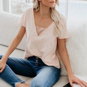 Vici Beautify Cotton + Lace Top